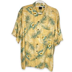 Arrow Yellow Hawaiian 100% Silk Shirt XL